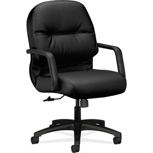 HON Pillow-Soft Executive Mid-Back Chair - Black Leather Seat - Black Frame - 5-star Base - 1 Each