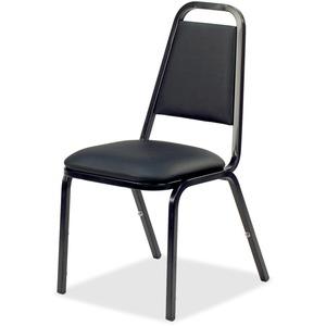 Lorell Upholstered Stacking Chairs - Black Vinyl Seat - Black Steel Frame - Charcoal Black - Vinyl, Steel - 4 Carton