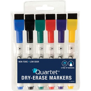 Quartet ReWritables Mini Dry-Erase Markers - Fine Marker Point - Black, Red, Green, Blue, Purple, Yellow - 6 / Set