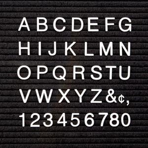 Quartet Felt Letter BoardCharacter Set - (Letter, Number, Symbol) Shape - Pin-up - Helvetica Style - 1