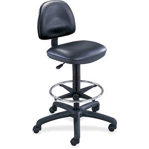 Safco Precision Extended Height Drafting Chair - Vinyl Black Vinyl Seat - Black Frame - 5-star Base - Black - 1 Each