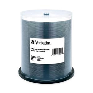 Verbatim CD-R 700MB 52X White Thermal Printable-Hub Printable - 100pk Spindle - 700MB - 10