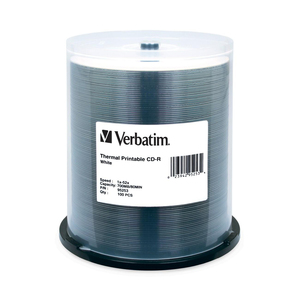 Verbatim CD-R 700MB 52X White Thermal Printable - 100pk Spindle - 700MB - 100 Pack