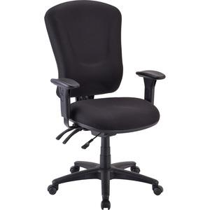Lorell Accord Fabric Swivel Task Chair - Black Polyester Seat - Black Frame - 1 Each