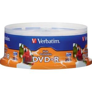 DVD-R 4.7GB 16X White Inkjet Printable-Hub Printable - 25pk Spindle - White Inkjet Printab