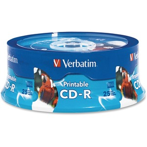 Verbatim CD-R 700MB 52X White Inkjet Printable-Hub Printable - 25pk Branded Spindle - 700M