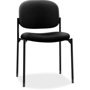 HON Scatter Stacking Guest Chair - Black Fabric Seat - Black Frame - Square Base - Black - 1 Each