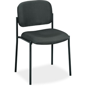 HON Scatter Stacking Guest Chair - Charcoal Fabric Seat - Black Frame - Square Base - Charcoal - 1 Each