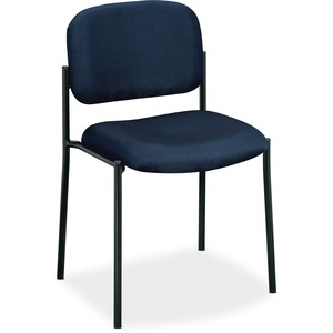 HON Scatter Stacking Guest Chair - Navy Blue Fabric Seat - Black Frame - Square Base - Navy - 1 Each