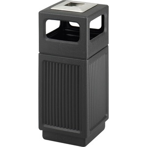 Safco Recessed Panels Waste Receptacle - 15 gal Capacity - 32.8
