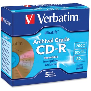 Verbatim CD-R 700MB 52X UltraLife Gold Archival Grade with Branded Surface and Hard Coat -