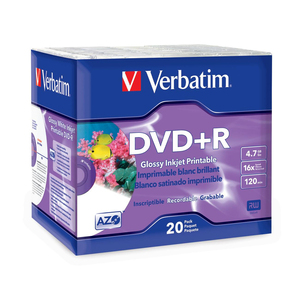 DISC DVDR 4.7GB 16X GLOSSY INK JET PRINTABLE 20/PK SLIM CASE