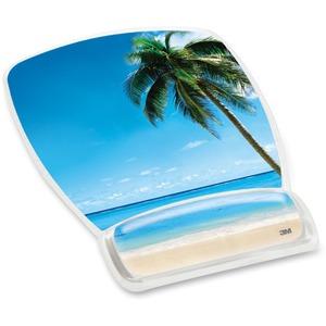 3M Beach Design Gel Mouse Pad Wrist Rest - 8.60inx 6.80inDimension - Plastic - 1 Pack