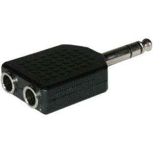 Audio Cable - 6.3mm stereo - Male - 2x6.3mm stereo - Female - Black