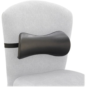 Safco Memory Foam Lumbar Support Backrest - Strap Mount - Black