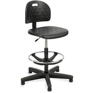 Safco Soft Tough Economy Workbench Drafting Chair - Black Foam, Polyurethane Seat - Foam Back - 5-star Base - Black - 1 Each