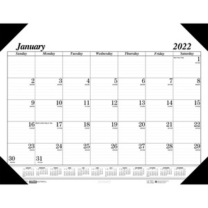 House of Doolittle Recycled Compact Size Economy Desk Pad - Monthly - January 2022 till December 2022 - 1 Month Single Page Layout - 18 1/2