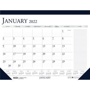 House of Doolittle Blue/Gray Print Monthly Desk Pad - Julian Dates - Monthly - 1 Year - January 2022 till December 2022 - 1 Month Single Page Layout - 22