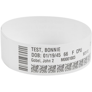 Zebra Wristband Polypropylene 1 x 11in Direct Thermal Zebra Z-Band Direct HC100 10006995K