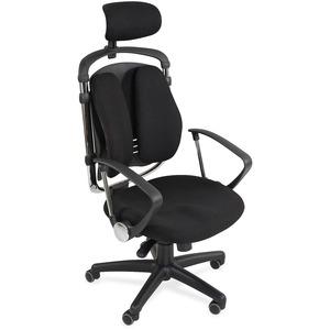 MooreCo Spine Align Executive Chair - Foam, Fabric Seat - Foam Back - 5-star Base - Black - 1 Each