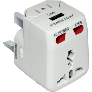 AC World Travel Adaptor Kit with USB Connects, Disassembles to reconfigure into