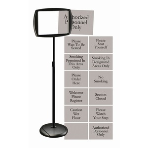 MasterVision Interchangeable Floor Pedestal Sign - 1 Each - Please Wait To Be Seated, Authorized Personnel Only, Please Watch Your Step, Please Seat Yourself, Smoking In Designated Areas Only, Smoking Permitted In This Area Only, Welcome Please Register,