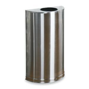Rubbermaid Commercial 12 Gallon Half Round Steel Receptacle - 12 gal Capacity - Semicircular - 7