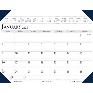 House of Doolittle Eco-friendly Executive Calendar Desk Pad - Julian Dates - Monthly - 1 Year - January 2022 till December 2022 - 1 Month Single Page Layout - 24