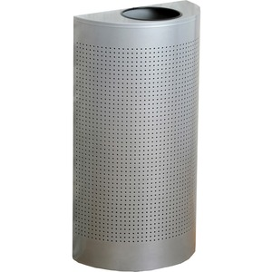 Rubbermaid Commercial Half Round Metallic Waste Receptacle - 12 gal Capacity - Semicircular - 32