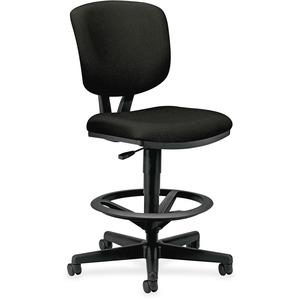 HON Volt Task Stool, Black Fabric - Black Fabric Seat - Black Fabric, Plastic Back - 5-star Base - Black - 1 Each