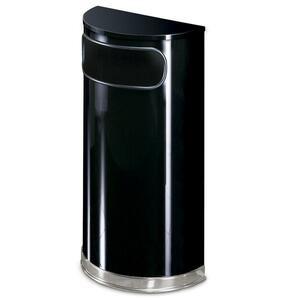 Rubbermaid Commercial Black/Chrome Half Round Receptacle - 9 gal Capacity - Semicircular - 32