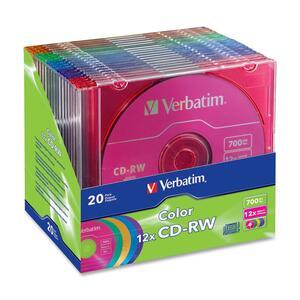 VERBATIM - AMERICAS LLC 20PK CD-RW 700MB 4X-12X DATA LIFEPLUS W/COLOR BRANDED SURFACE