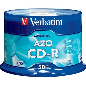 Verbatim CD-R 700MB 52X DataLifePlus with Branded Surface - 50pk Spindle