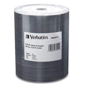 Verbatim CD-R 700MB 52X White Inkjet Printable-Hub Printable - 100pk Tape Wrap - 700MB - 1