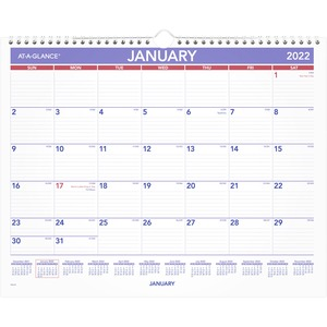 At-A-Glance Monthly Wall Calendar - Julian Dates - Monthly - 1 Year - January 2022 till December 2022 - 1 Month Single Page Layout - 15