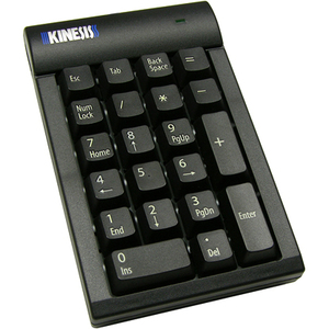 Kinesis Low Force Tactile Numeric Keypad for PC Black USB With 2 Port Hub
