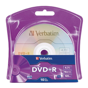 Verbatim 96942 DVD Recordable Media - DVD+R - 16x - 4.70 GB - 10 Pack Blister Pack - 120mm