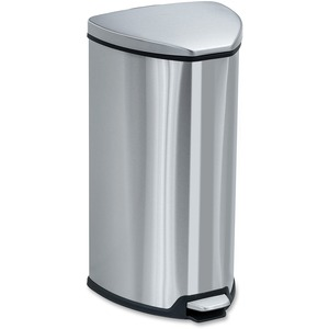 Safco Hands-free Step-on Stainless Receptacle - 7 gal Capacity - 21