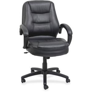 Lorell Westlake Mid Back Managerial Chair - Black Leather Seat - Black Polyurethane Frame - Black - 1 Each