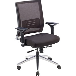 Lorell Lower Back Swivel Executive Chair - Black Fabric Seat - 5-star Base - Black - 1 Each