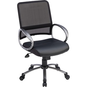 Lorell Mid Back Task Chair - Black Leather Seat - 5-star Base - Black - 1 Each
