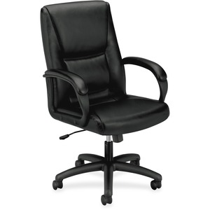 HON High-Back Executive Chair - Black SofThread Leather Seat - Black Frame - 5-star Base - 1 Each