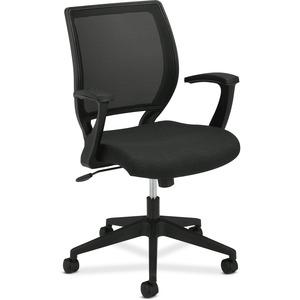 HON Mesh Mid-Back Task Chair - Black Fabric Seat - Black Frame - 5-star Base - Black - 1 Each