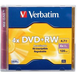 Verbatim DVD+RW 4.7GB 4X with Branded Surface - 1pk Jewel Case - TAA Compliant
