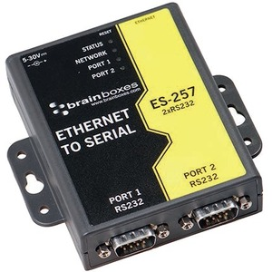 Brainboxes 2 Port RS232 Ethernet to Serial Adapter - DIN Rail Mountable - TAA Compliant