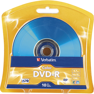 Verbatim AZO DVD-R 4.7GB 16X Vibrant Colors - 10pk Blister-Assorted - 120mm - 2 Hour Maxim