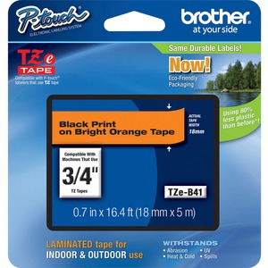 Brother TZE-B41 Black on Fluorescent Orange Lettering Tape