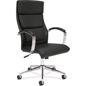HON Executive High-Back Chair - Black SofThread Leather Seat - 5-star Base - 1 Each