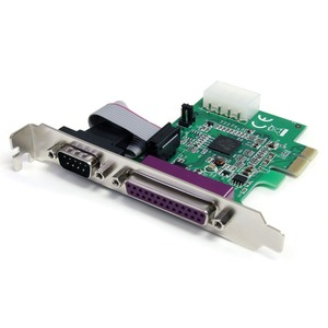 Add a parallel and serial port through a standard or low-profile PCI Express slo