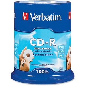Verbatim CD-R 700MB 52X with Blank White Surface - 100pk Spindle - 120mm - Printable - 1.3
